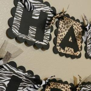 Zebra and Leopard Birthday Banner A..