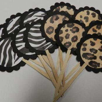 Animal Print Cupcake Toppers Leopard and Zebra